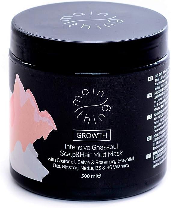 Main Thing - Mascarilla limpiadora para el cuero cabelludo y el cabello que protege contra la caída con ghassoul, aceite de ricino, aceites ...