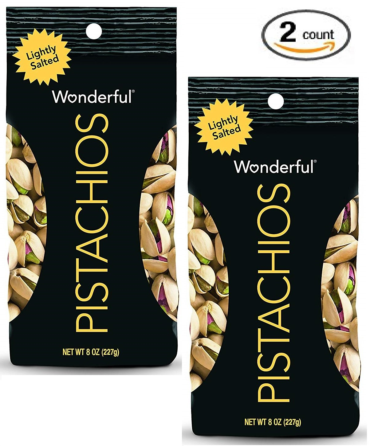 Wonderful Pistachios, Lightly Salted, 8-oz Bags - 2-PACK