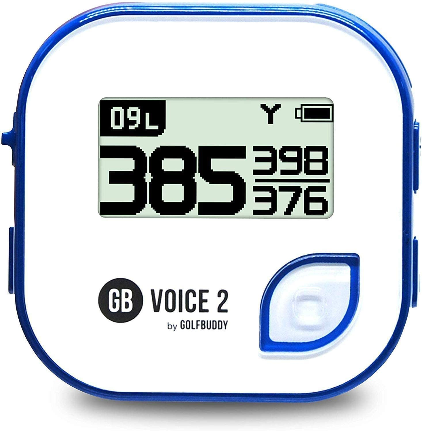 GolfBuddy Clip on Voice 2 Golf Navigation GPS for Hat/GPS and Laser Rangefinder, 14 Hours Battery Life, Water Resistant with Lifetime Free Courses and Software Updates,White/Navy