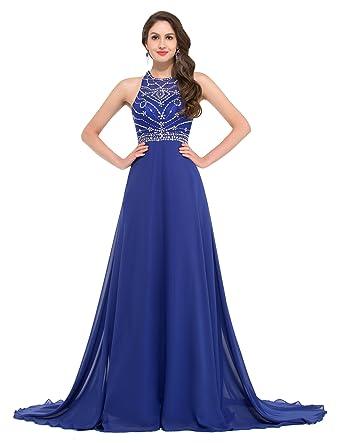 GK Prom Dresses Damen Neckholder Kleid Gr. 16, Blau - Blau: Amazon ...