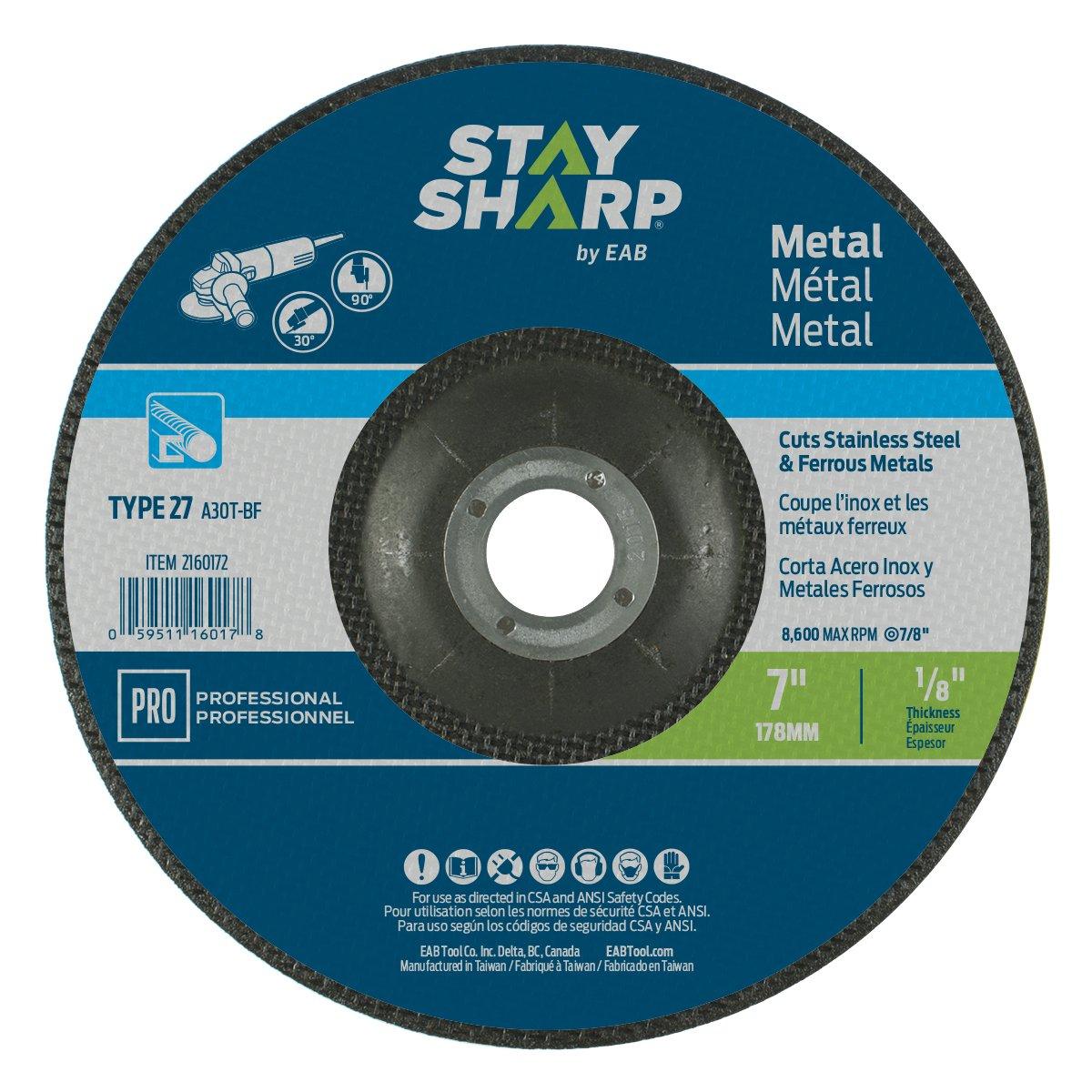 EAB Tool 2160172 7 x 1/8' Standard Metal Depressed Center Wheel EAB Tool Company USA Inc