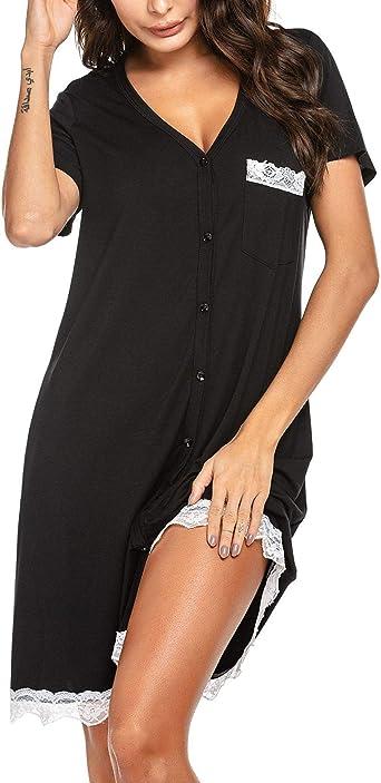 UNibelle – Camisa de noche para mujer, de manga corta, informal, con botón abierto Negro S: Amazon.es: Ropa y accesorios