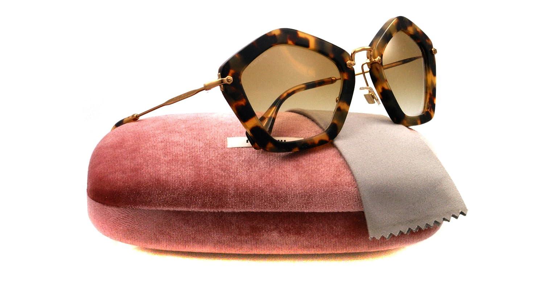 b83c106df627 MIU MIU Geometric Sunglasses in Yellow Havana MU 06OS 7SO9S1 53 53 Green  Gradient: Amazon.ca: Shoes & Handbags