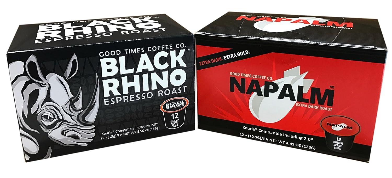 Napalm Coffee & Black Rhino Espresso Roast, Extra Bold Single Serve Cups, 24 Count
