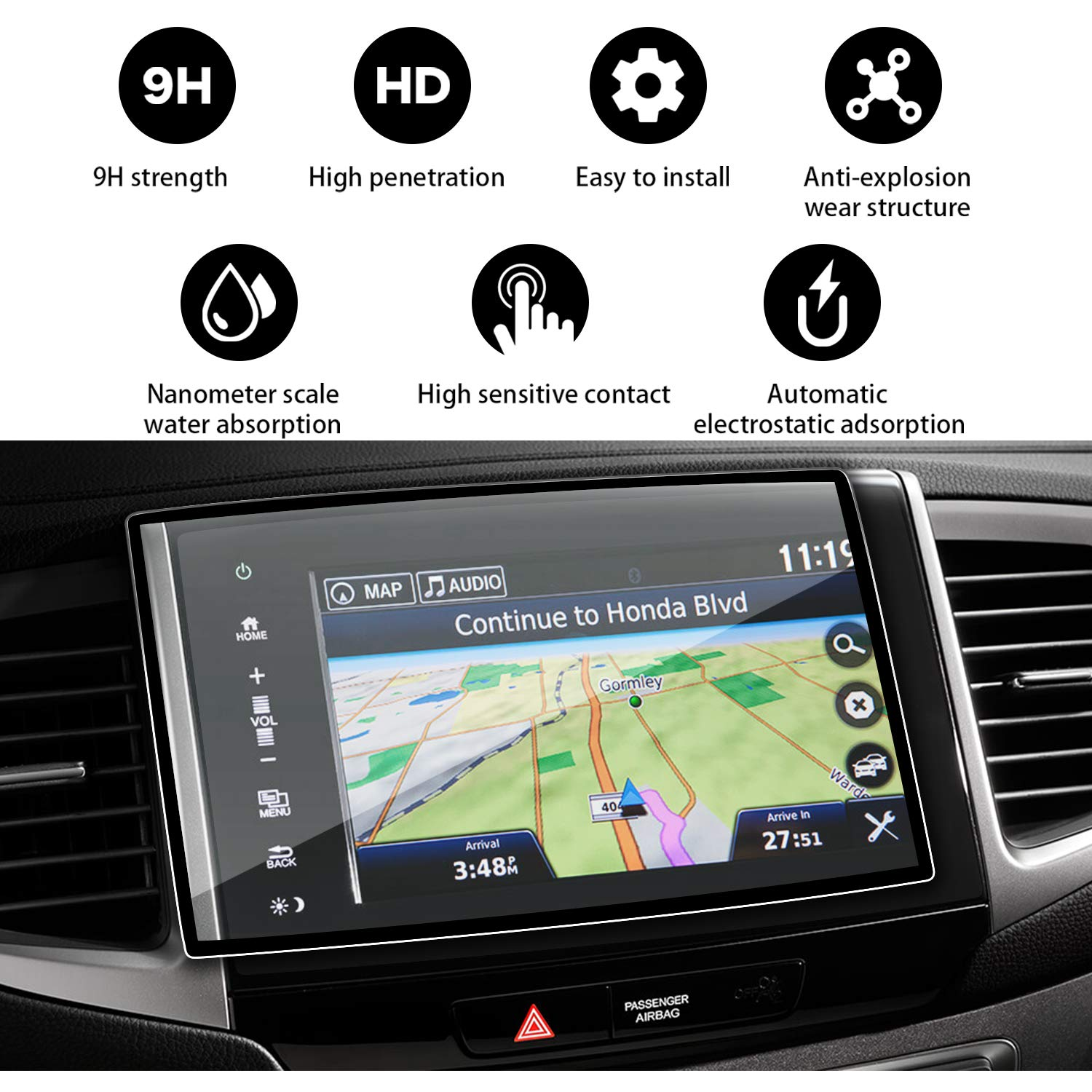 YEE PIN 2016 2017 2018 Honda Pilot EX EX-L 8 inch Display Screen Printing is Special, Clear Tempered Glass