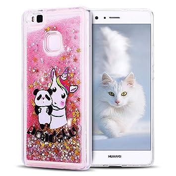 SpiritSun Funda Huawei P9 Lite, Carcasa Huawei P9 Lite, Transparente Líquido Bumper Tapa Silicona Case Flexible Gel TPU Bling Suave Protectora Caso ...