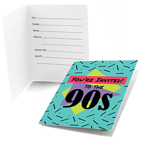 Amazoncom 90s Throwback Fill In 1990s Party Invitations 8