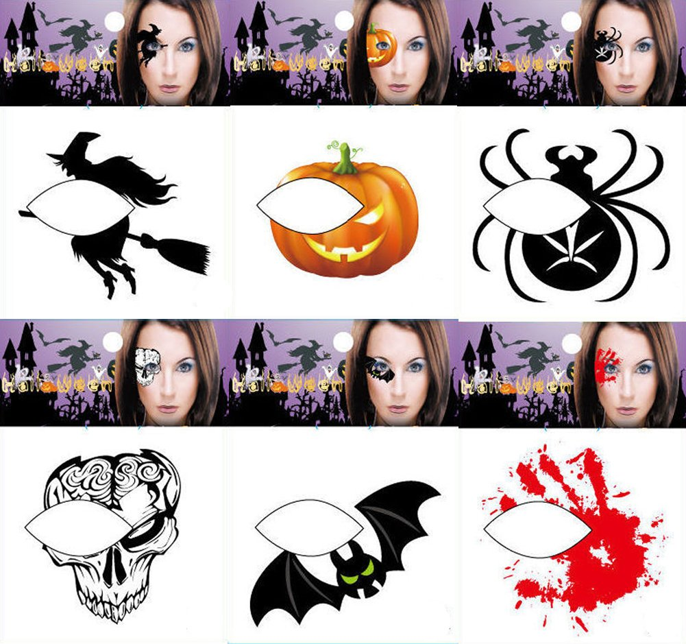 Halloween Temporary Tattoo Face Waterproof Tattoo Stickers 6 Pieces