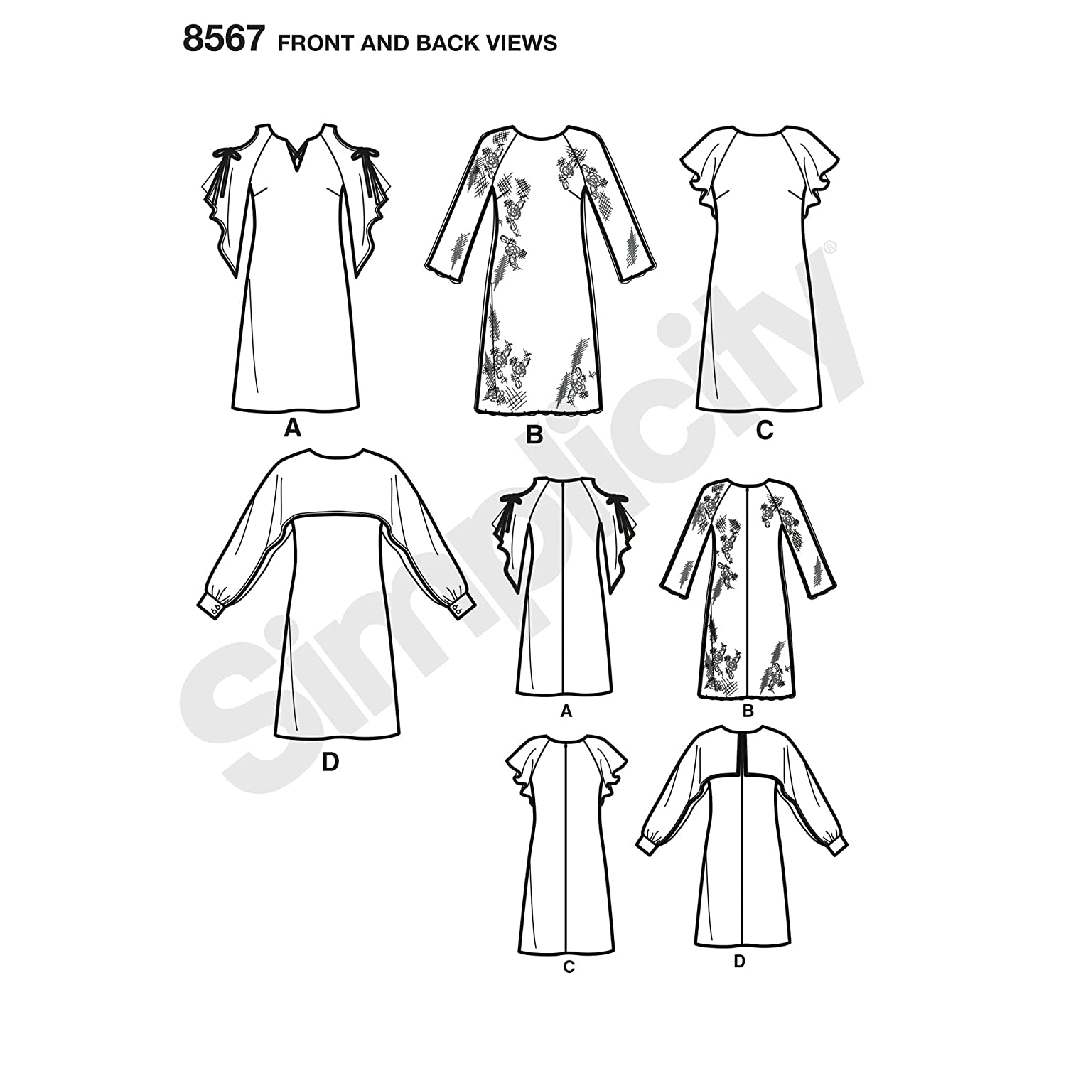 Amazon.com: Simplicity Creative Patterns US8567BB Girls BB (8 1/2-16 1/2): Posters & Prints