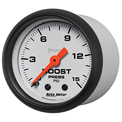 "Auto Meter (5702) Phantom 2-1/16"" 0-15 PSI Mechanical Boost Gauge: Automotive"
