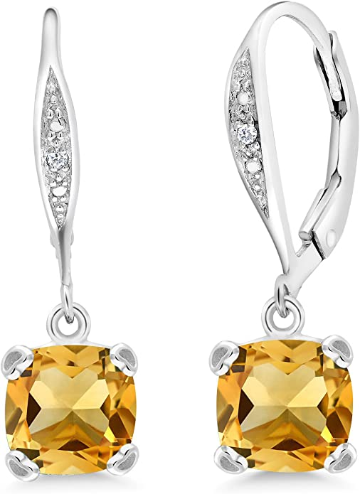Gem Stone King 925 Sterling Silver Yellow Citrine and White Diamond Women's Earrings, 2.81 Ct Cushion Cut 7MM