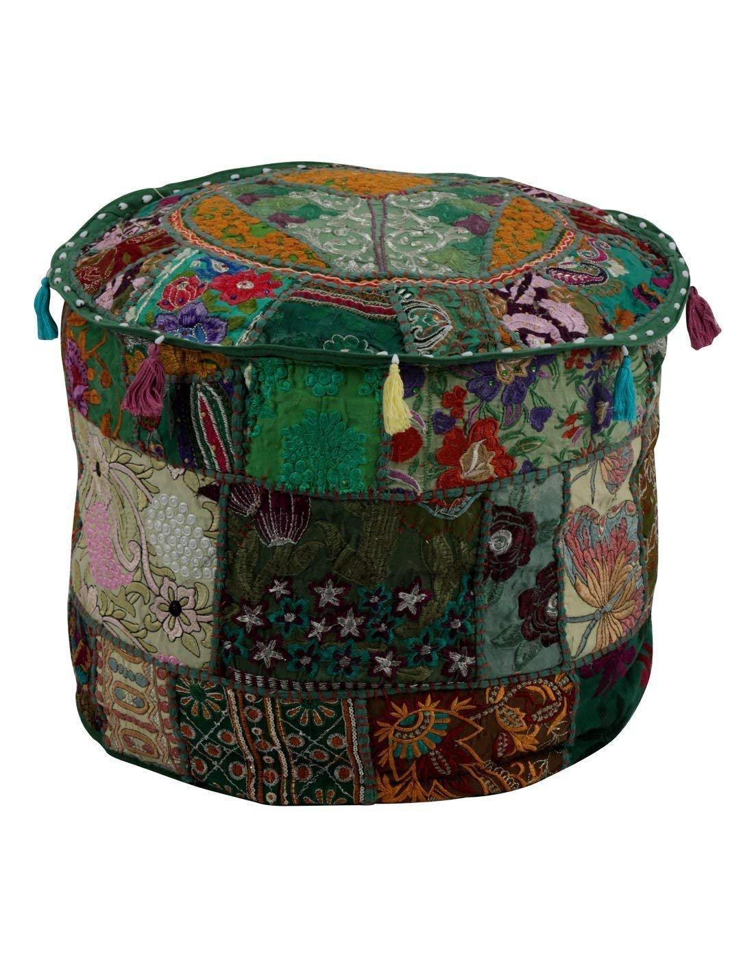 GANESHAM Indian Home & Living Decor Hippie Patchwork Bean Bag Boho Bohemian Hand Embroidered Ethnic Handmade Pouf Ottoman Vintage Cotton Floor Pillow & Cushion 13'' H x 18'' Diam.