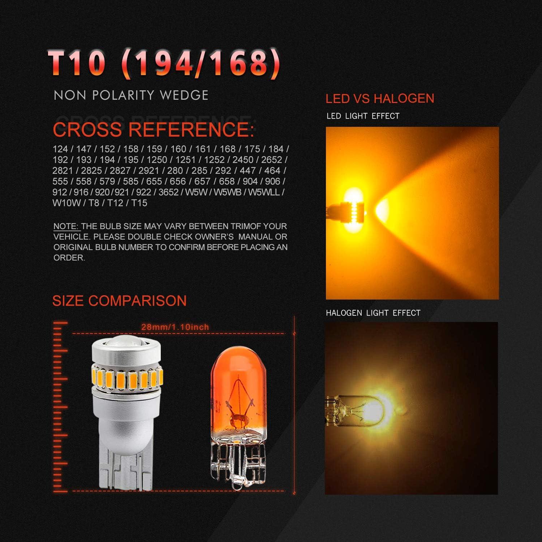 Light & Lighting Accessories Amber Yellow VehiCode 12V Bright T10 ...