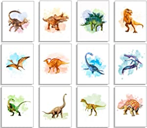 Dinosaur Wall Decor Art Prints - Set Of 12 8x10 Unframed Dinosaur Poster- Dinosaur Room Decor For Boys Dinosaur Decor Dinosaur Bedroom Decor For Boys & Girls Dinosaur Bathroom Decor Wall Art