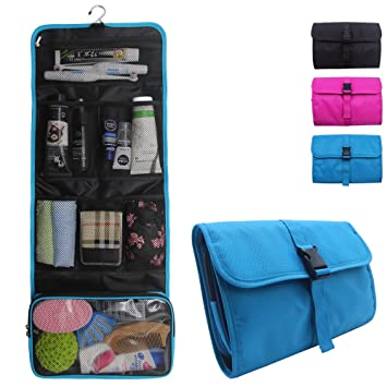 c2d95e0ba1 Amazon.com   Travel Hanging Toiletry Bag for Men Women Travel Kit Shaving Bag  Waterproof Wash Bag Makeup Organizer for Bathroom Shower Blue   Beauty