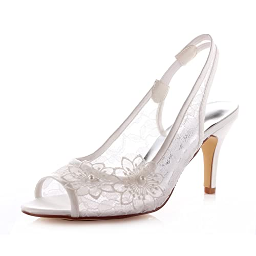 9a2d564667ae Emily Bridal Lace Wedding Shoes Peep Flowers Women s High Heel Bridal Shoes   Amazon.co.uk  Shoes   Bags