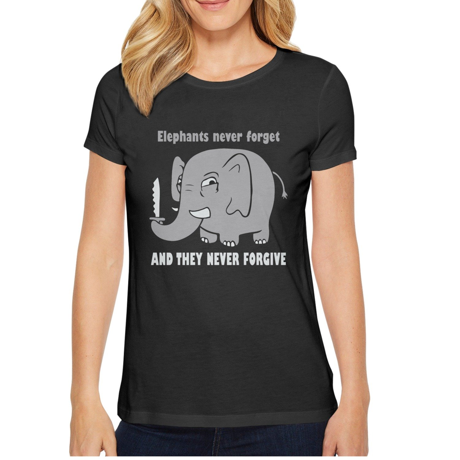 d447f31d Amazon.com: xs4tdg563kfu Never Forget The Elephant Never Forgive Womens  Short Sleeve T-Shirt Individuality Printed Short Sleeve T-Shirt: Clothing