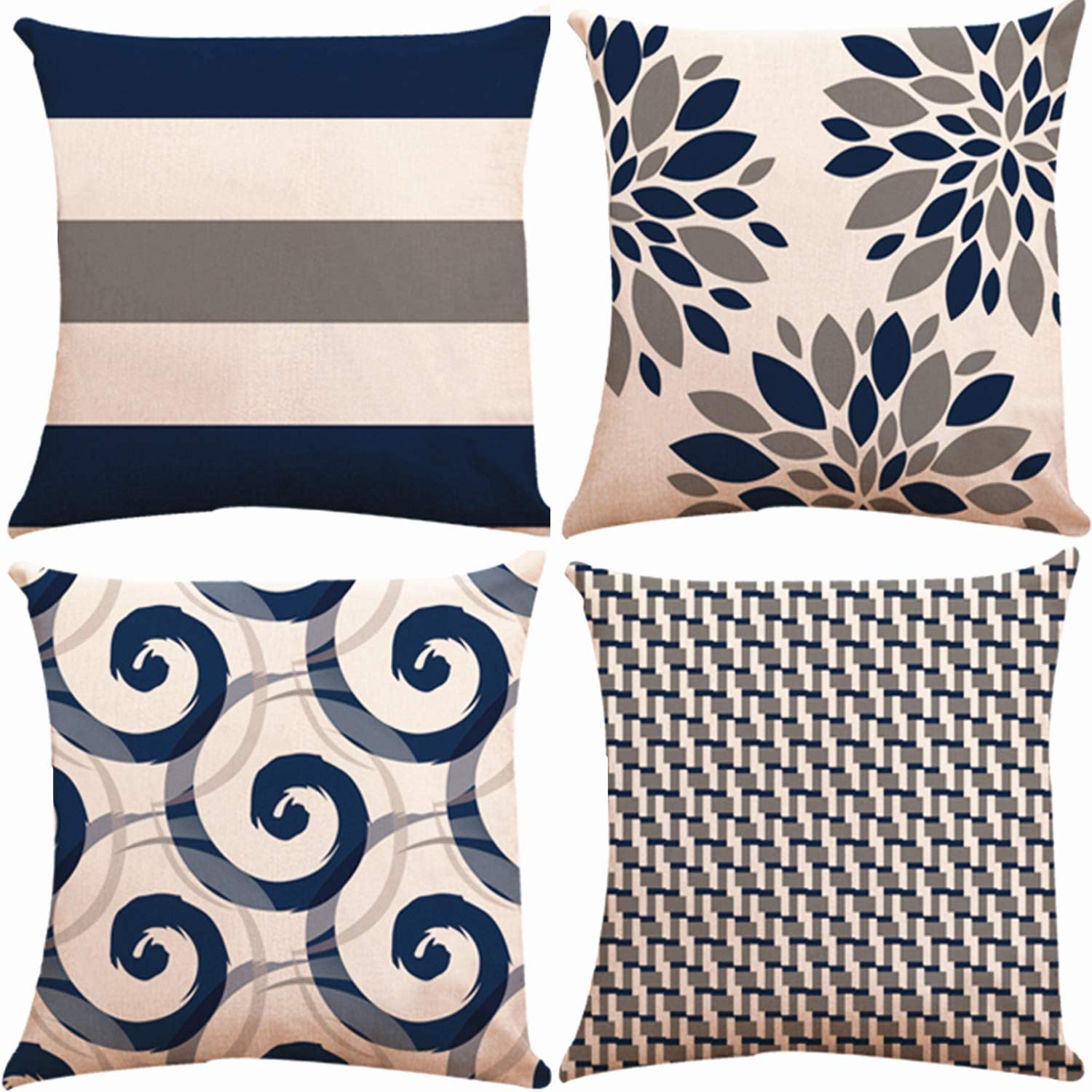 ZUEXT Geometric Throw Pillow Covers 16x16 Inch Double Sided, Set of 4 Cotton Linen Indoor Outdoor Modern Floral Accent Pillow Cushion Cover for Car Sofa Home Decor (Navy Beige Check, Mix & Match)