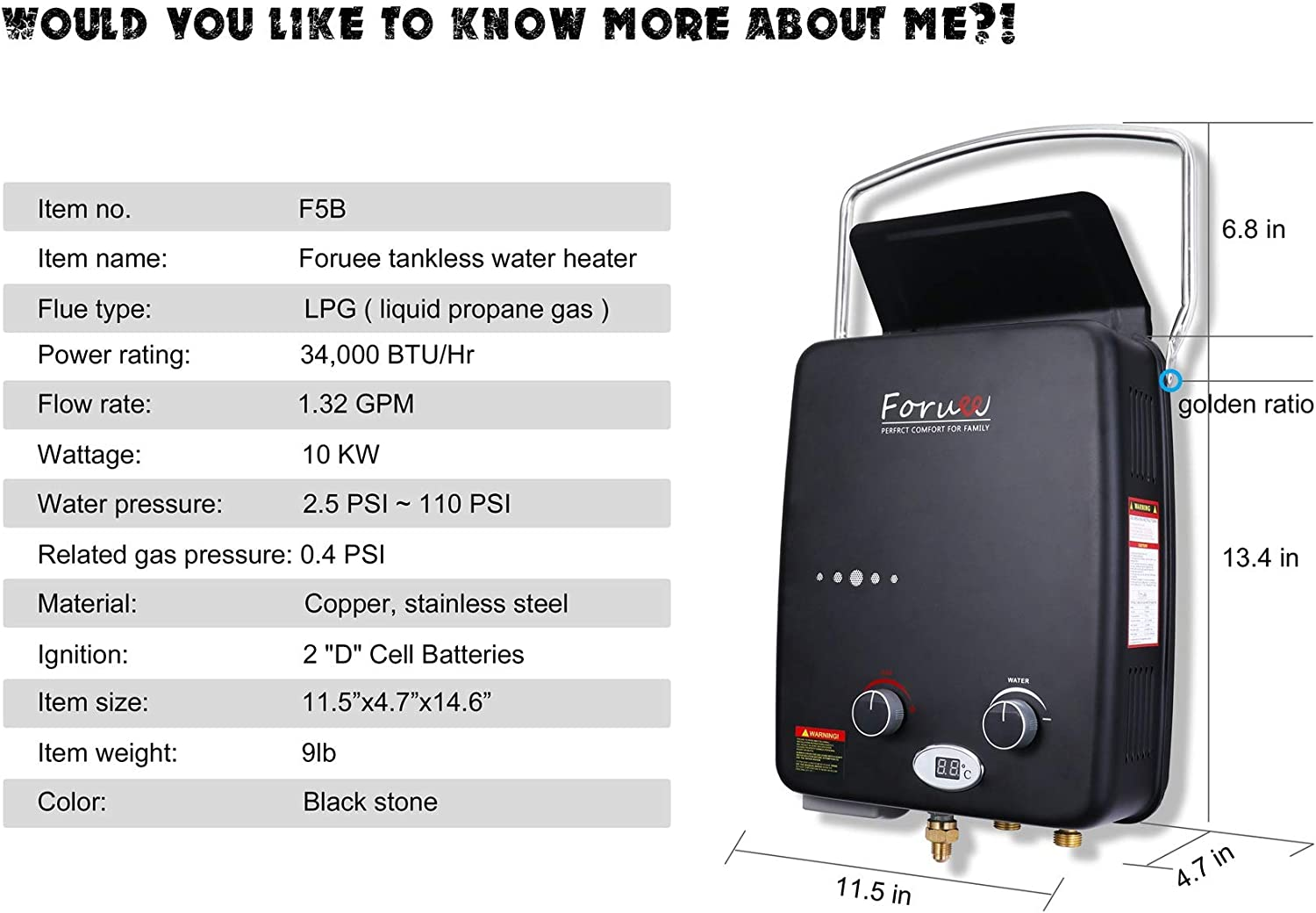 Portable Propane Tankless Water Heater, 1.32GPM/5Litre Capacity, 6-IN-1 Multiple Protection, 7 More Usage Scenarios, Low Pressure Startup, Black - -