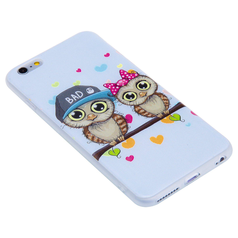 COZY HUT Custodia Cover iPhone 6 Plus//6s Plus Silicone Cover Bumper Case Antiscivolo AntiGraffio Antiurto Ultra Sottile TPU Morbida Protettiva Case per iPhone 6 Plus//6s Plus Coppie Gufo