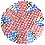 COM-FOUR® Set da 9 Protezione antigraffio per padelle, set a quadretti, 3x blu, 3x rosso, 3x nero (9 pezzi)
