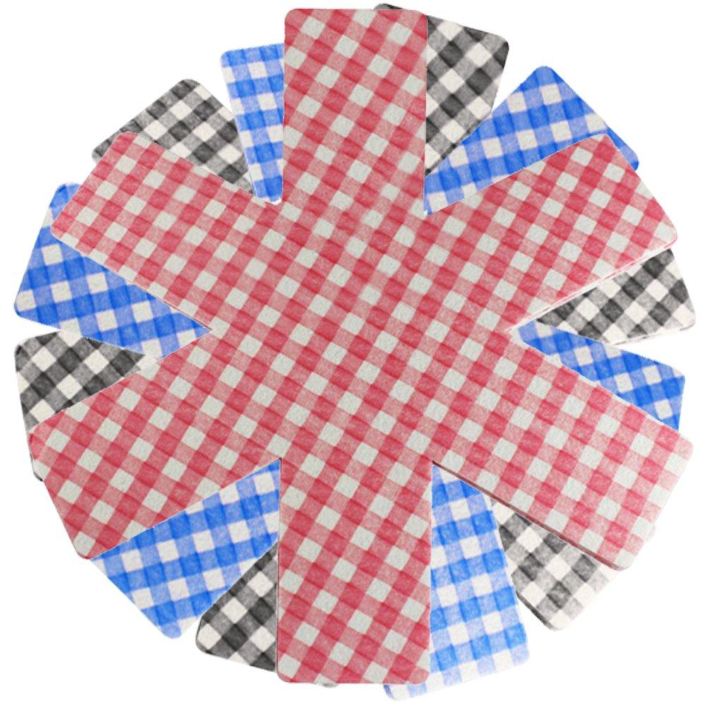 COM-FOUR® 9 protectores de fieltro hechos de fieltro, protección contra rayones para sartenes, a cuadros en diferentes colores (azul, rojo, ...