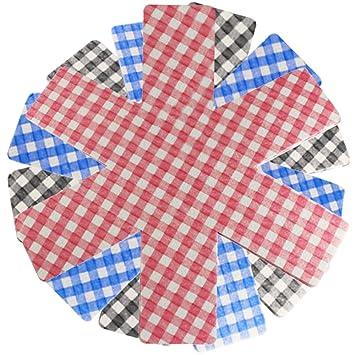 COM-FOUR® 9 protectores de fieltro hechos de fieltro, protección contra rayones para sartenes, a cuadros en diferentes colores (azul, rojo, negro) ...