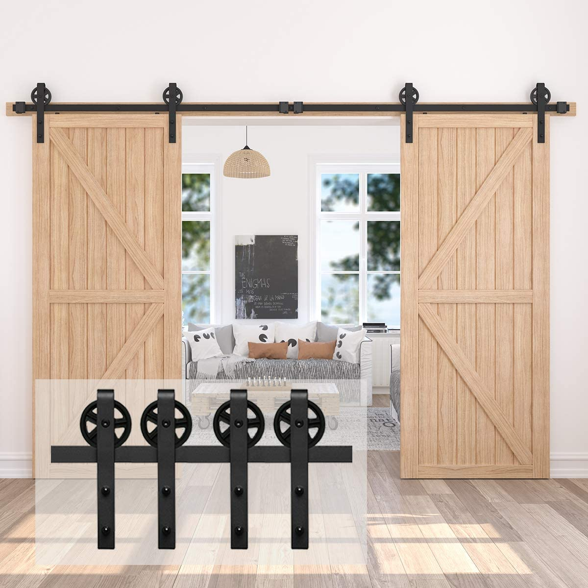 Simple and Easy to Install Black J Shape Hangers Homlux 6ft Heavy Duty Sturdy Sliding Barn Door Hardware Kit One Door Fit 1 3//8-1 3//4 Thickness Door Panel Smoothly and Quietly