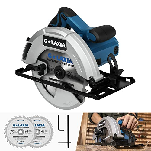 Circular Saw, GALAXIA 13A 5800RPM 7-1 4 Professional Corded Circular Saw with Lightweight Aluminum Guard, 2Pcs Blades 24T 48T plus 1 Allen Wrench, Max Cutting Depth 2-1 2 90 , 1-7 8 45