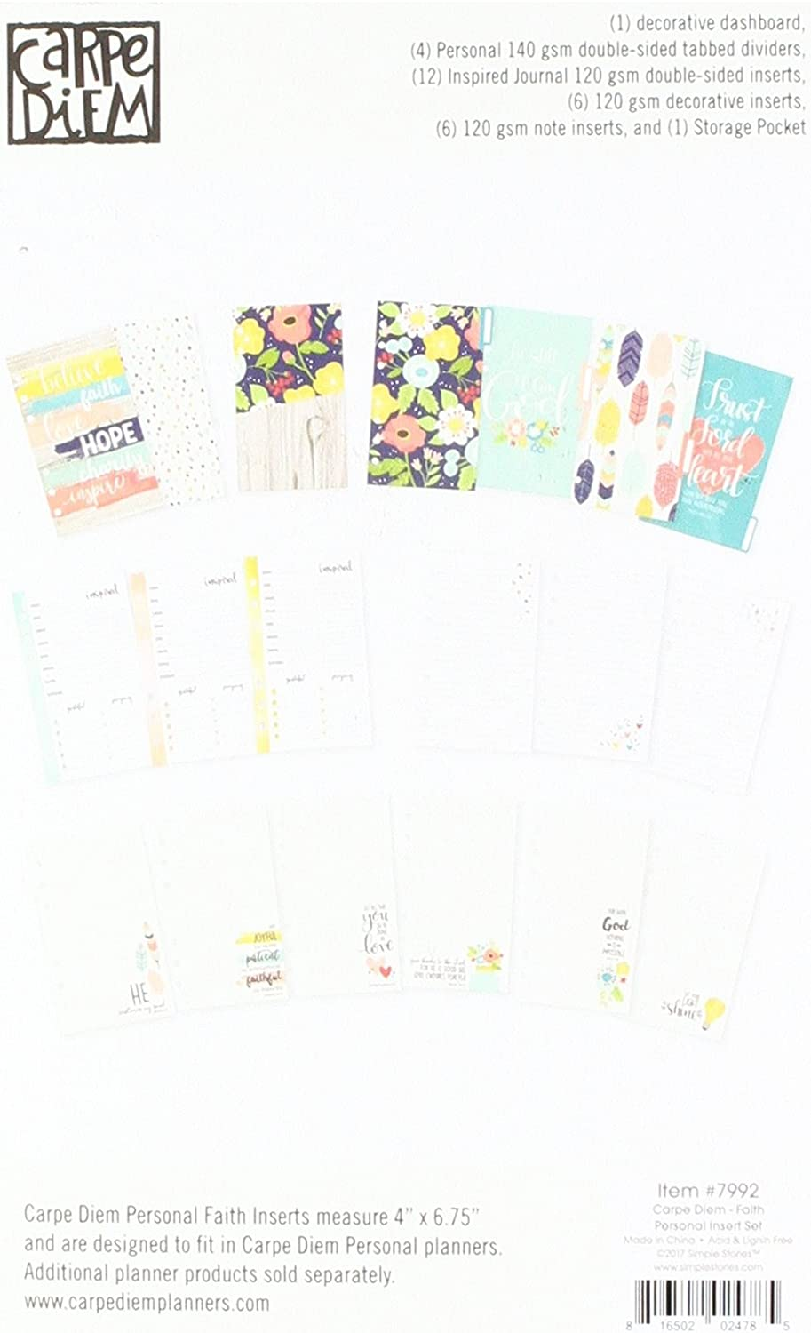Planner Essentials Dashboards /& Pocket Cards-carpe Diem 12 Dashboards//12