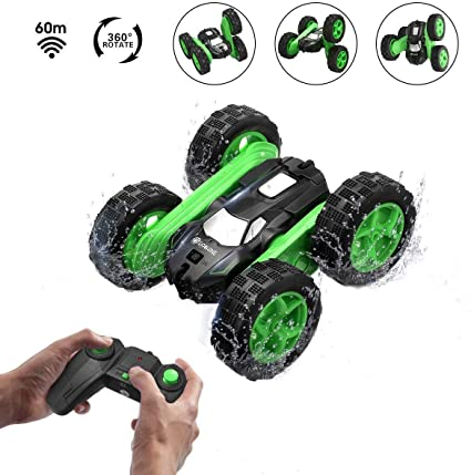 Sugoiti Remote Control Stunt Car RC 4WD Off Road Rechargeable 2.4Ghz 3D Deformation Racing Vehicle,Double Sided Rotating Tumbling 360/° Flips Off Road High Speed 7.5Mph Truck,Toy Gift for Kids