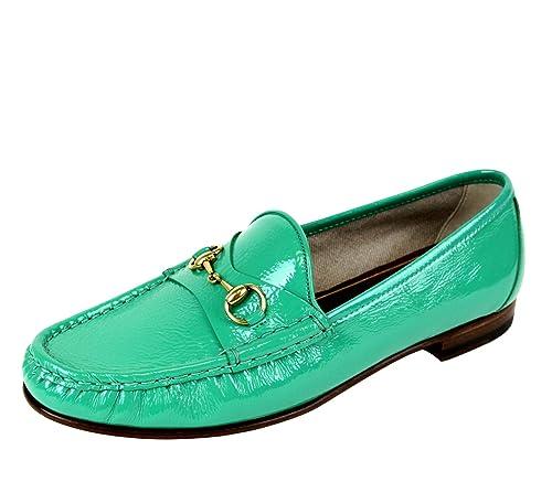 Gucci Mocasines de Cuero Suave bocado 318394 2440 (9 U.S. / 39, Verde)