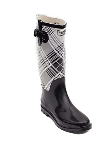 Amazon.com | Women Rubber Rain Boots-Black/White Plaid | Mid-Calf