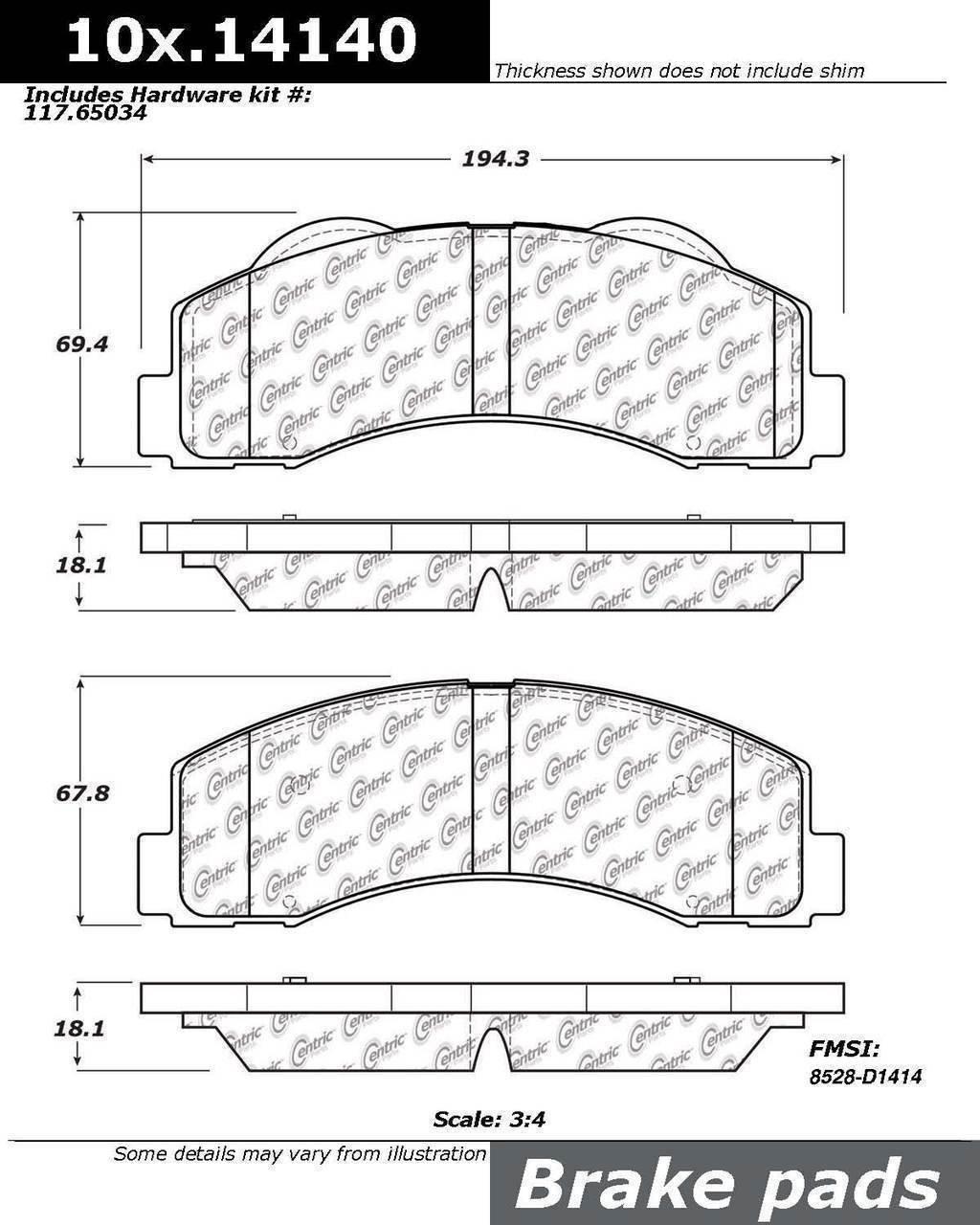 2. Centric (105.14140) Posi Quiet Brake Pad, Ceramic