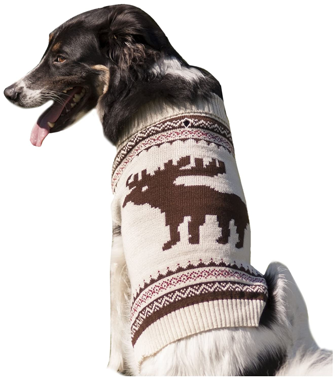 Amazon.com : Fashion Pet Moose Pattern Dog Sweater, Small, Cream ...