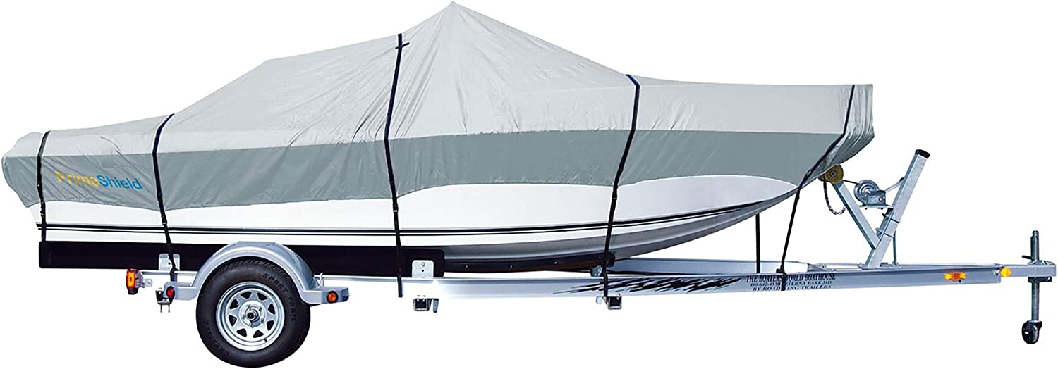 Optional Support Pole//Tightening Strap 600D Heavy Duty Waterproof UV Resistant Marine Grade Polyester Fits V-Hull,TRI-Hull,Pro-Style,Fishing Boat,Runabout,Bass Boat iCOVER Trailerable Boat Cover
