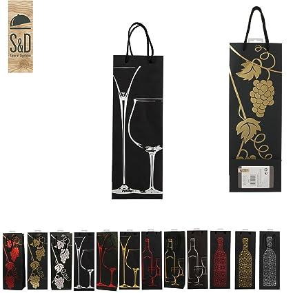 Lote de 3 bolsas de regalo para botella de vino: Amazon.es ...