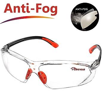 SAFEYEAR Gafas Trabajo Protección Ciclismo Hombre Con Lentes Antivaho y Transparente - Gafas Protectoras Seguridad Para