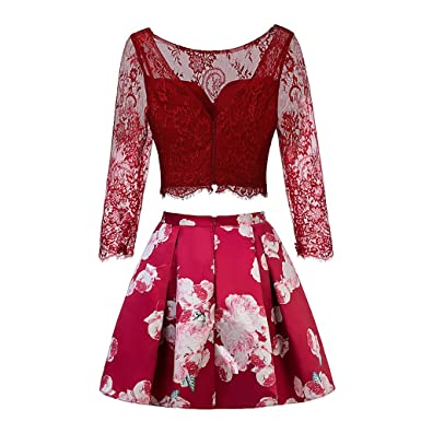 5595c7da862d TANGFUTI Two Piece Homecoming Dress Short Lace Floral Half Sleeves Prom  Graduation Gowns Red US2