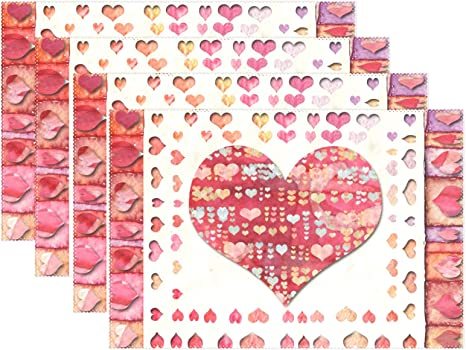 Amazon Com Pfrewn Happy Valentines Day Red Heart Flower Placemats Set Of 4 Table Mat Spring Be Mine Love Place Mat Placemat 12 X 18 Dining Home Kitchen Indoor Table Decoration Kitchen