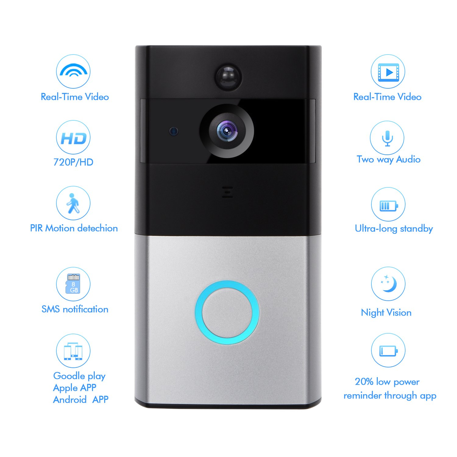 WIFI Video Doorbell, Wireless Smart Doorbell 720P Security Camera with  Chime, Night Vision 166 Wide Angle, Two-Way Talk and Video, App for IOS &
