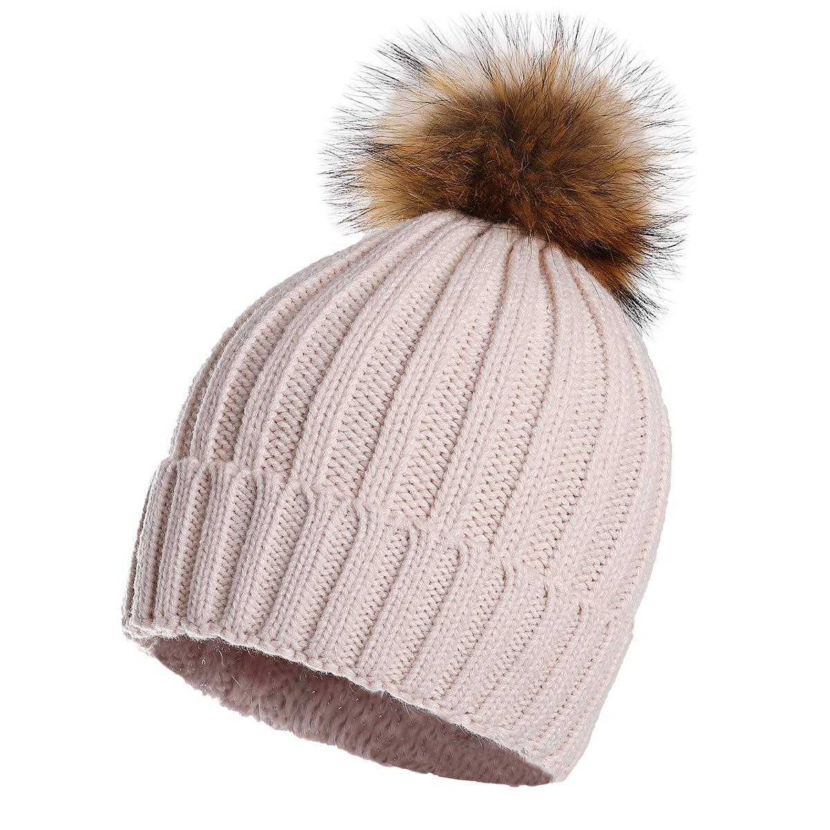 Beige Aphro Womens Winter Pompom Hat Soft Stretch Knit Beanie