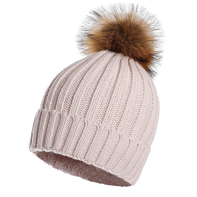 39a05d44677 Aphro Womens Winter Pompom Hat Soft Stretch Knit Beanie Beige at ...