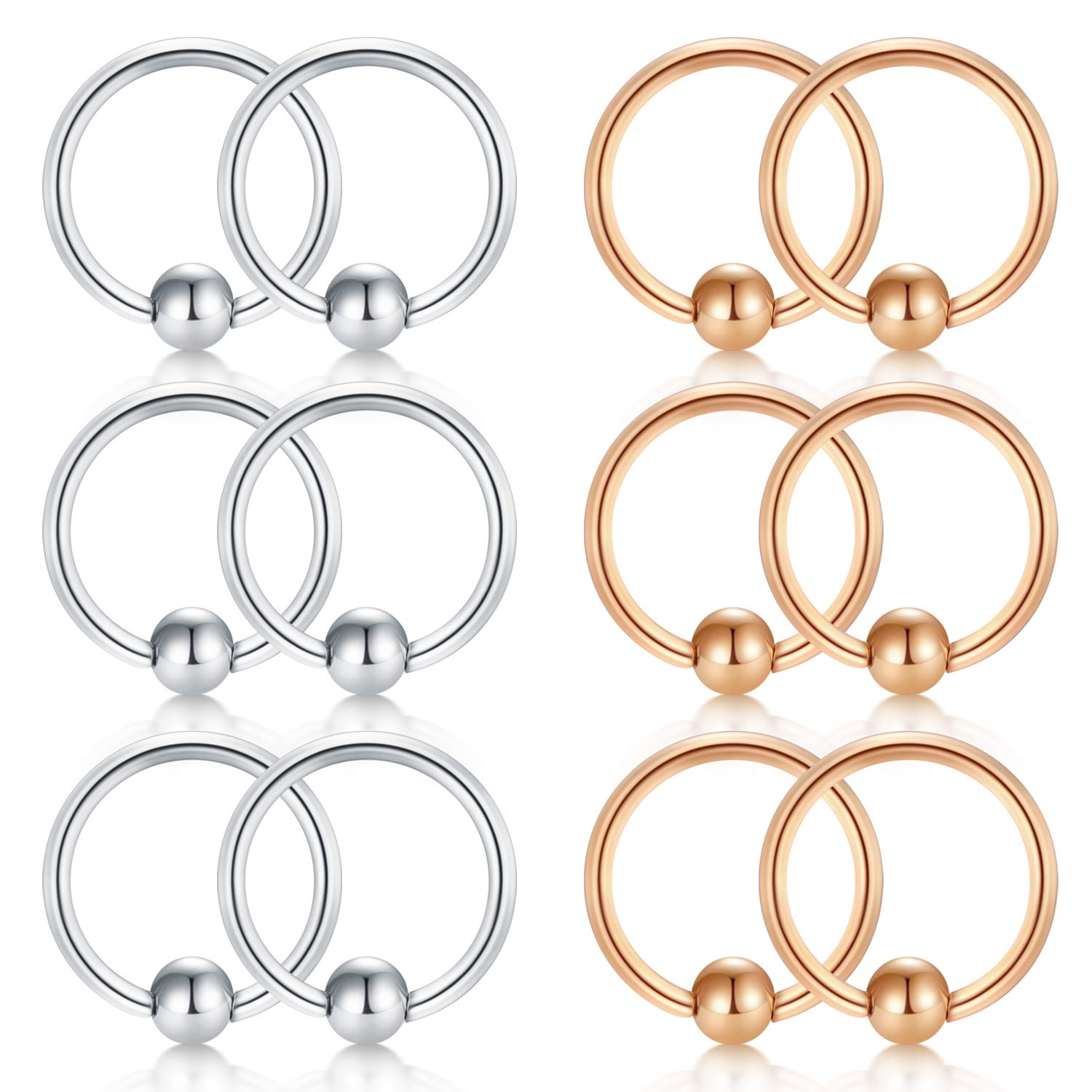 D.Bella PA Ring Tongue Rings-Internally Threaded Straight Barbell Nipple Ring 10G-12G-14G 10//12//14//16//18//25//38mm 316L Surgical Steel Pierced Body Jewelry Sold Individually