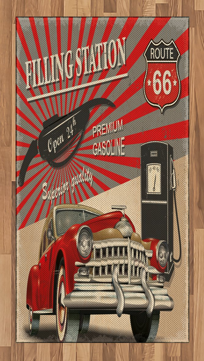 Ambesonne Cars Area Rug, Poster Style Image Gasoline Station Commercial Kitschy Element Route 66 Print, Flat Woven Accent Rug for Living Room Bedroom Dining Room, 2.6 x 5 FT, Vermilion Beige