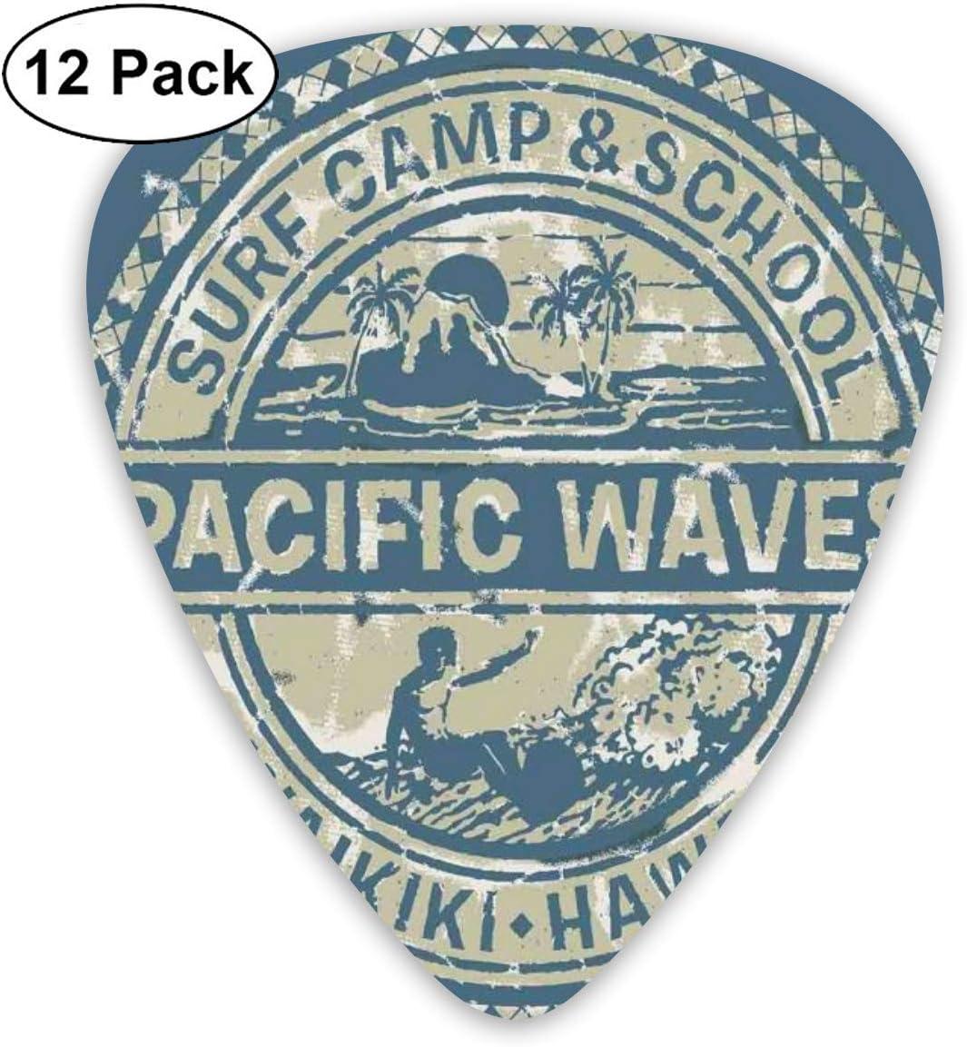 Elecciones de guitarra Pacific Waves Surf Camp School Hawaii Logo Motif Artsy Effects Design, para bajo Guitarras eléctricas-12 Pack
