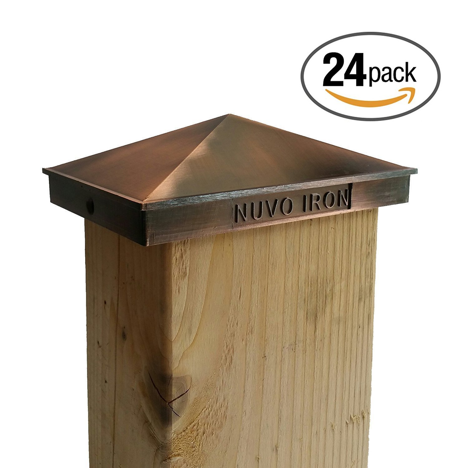 Nuvo Iron Decorative Pyramid Aluminium Post Cap for 3.5'' x 5.5'' / 4'' x 6'' Posts - Copper Plated [24 PACK]