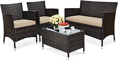 HAPPYGRILL 4-Piece Rattan Patio Furniture Set
