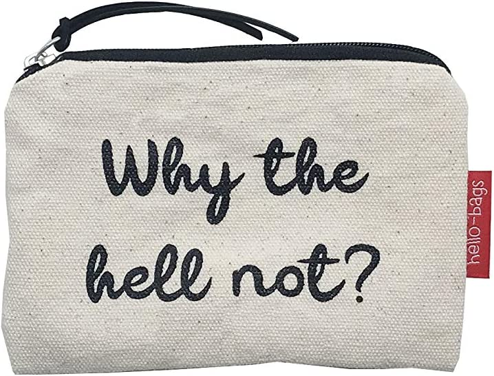 Algod/ón 100/% 14x10 cm Hello-Bags Bolso Monedero//Billetero//Tarjetero con Cremallera y Forro Interior Blanco Incluye sobre Kraft de Regalo