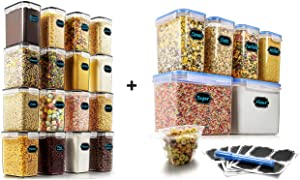 Wildone 16pcs Airtight Storage Containers and 6pcs Cereal Storage Containers